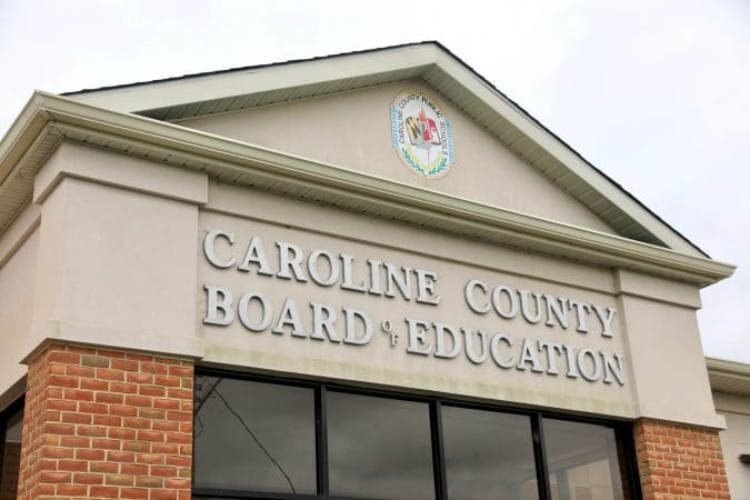 front of Caroline County Board of Education building