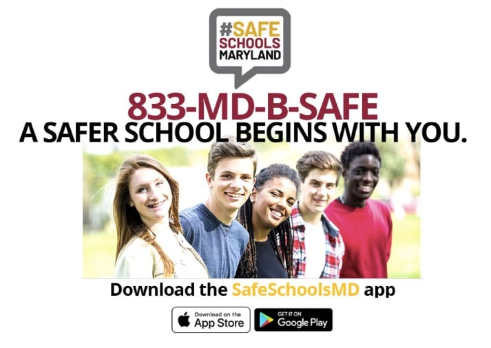 safe schools banner with phone number