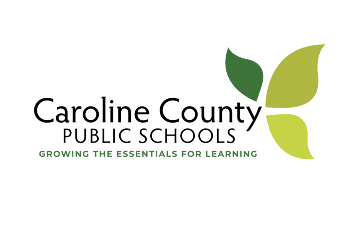 Caroline County Public Schools logo with green leaves
