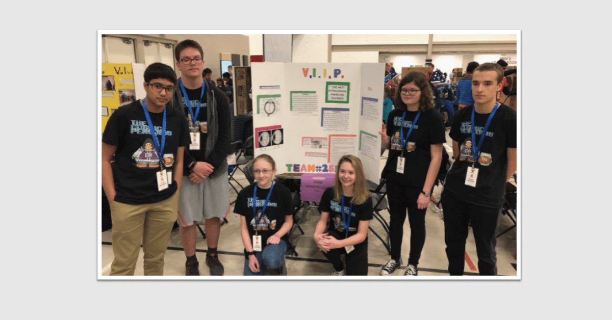 Lockerman Middle Lego team with first place trophy