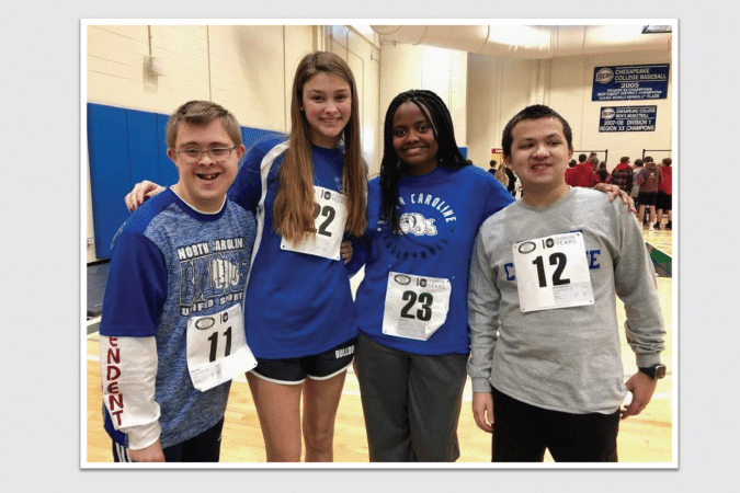 Four students at NCHS Special Olympics