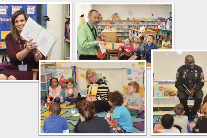 Four photos of adults reading to students