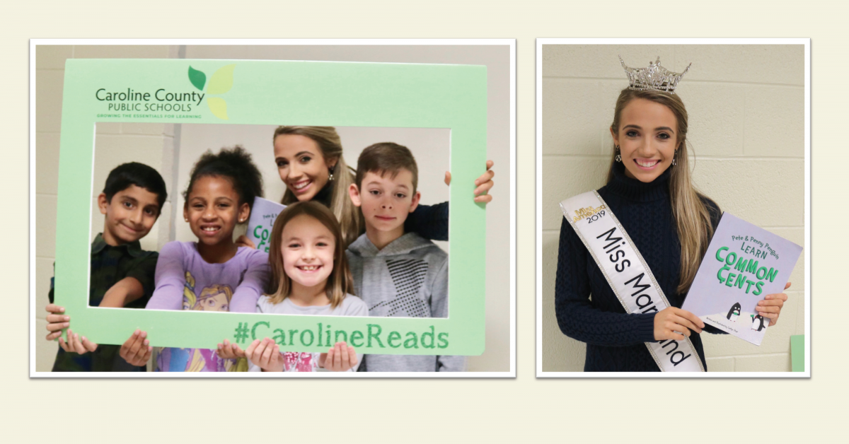 Students and Miss MD holding #CarolineReads frame; Miss MD holding booik